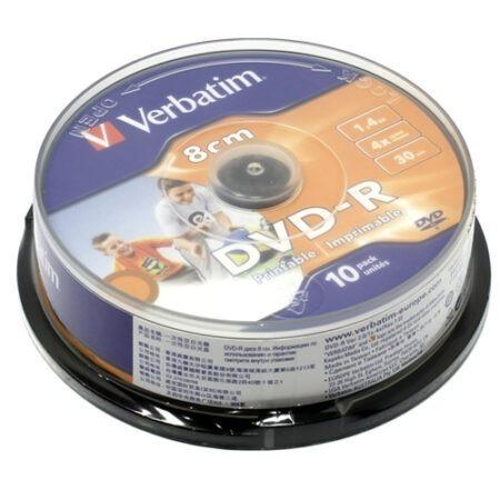 Диск DVD-R mini Verbatim 8cm 1.4GB 30 min 4x 10 pack Оперативная полиграфия в Киеве. Печать на бумаге, Дисках, визитках - Dam.net.ua